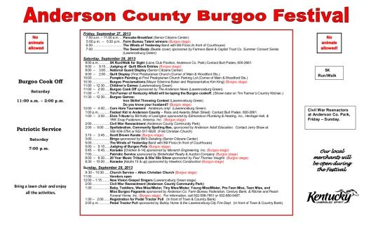 Burgoo  - Program for 2013