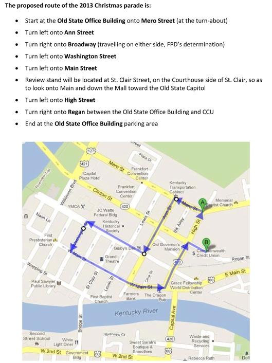 2013 Christmas Parade Route