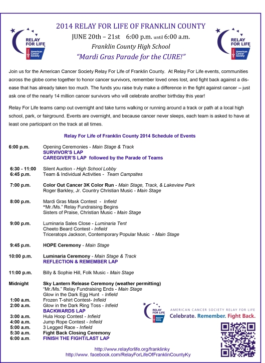 Relay For Life flier 2014