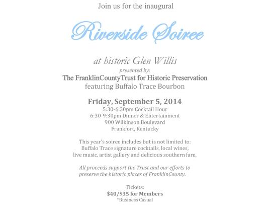 Glen Willis Riverside Soiree for Frankin County Trust for Historic Preservation 2014 - 2