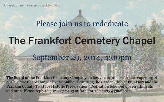 Chapel Dedication Invitation at Frankfort Cemetery