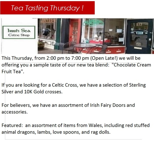 Irish Sea Celtic Shop Tea Tasting 1-29-15