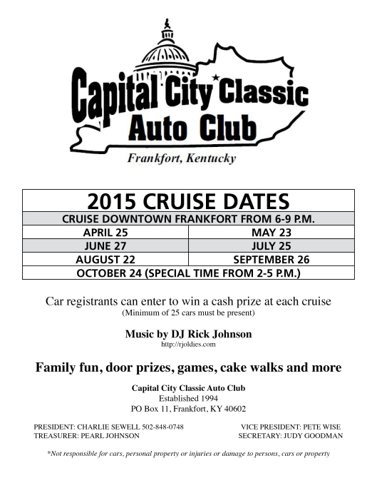 Capital City Classic Auto Club Auto Cruises in Downtown Frankfort