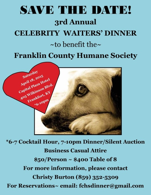 Franklin County Humane Society Celebrity Watiers Dinner 2015