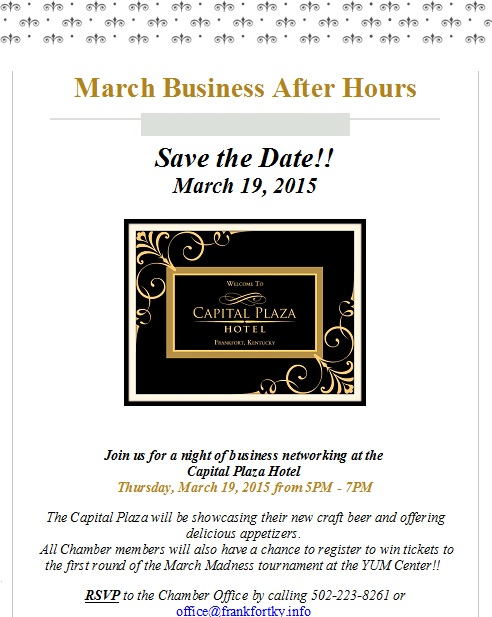 March Business After Hours at the Capital Plaza Hotel - 3-19-15