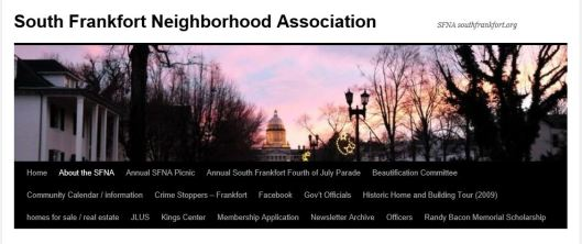 SFNA Banner - South Frankfort Neighborhood Association