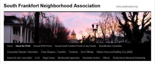 SFNA Banner - South Frankfort Neighborhood Association