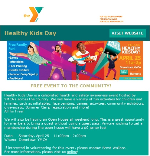 Healthy Kids Day at the Frankfort YMCA - 4-25-15