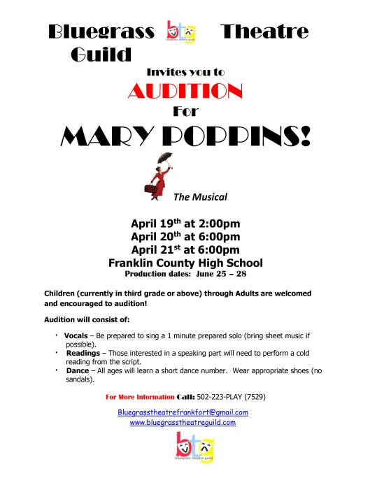 Mary Poppins Auditions for Bluegrass Theatre Guild