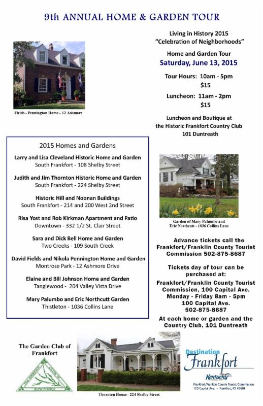 9th Annual Living History Home & Garden Tour - 6-13-15