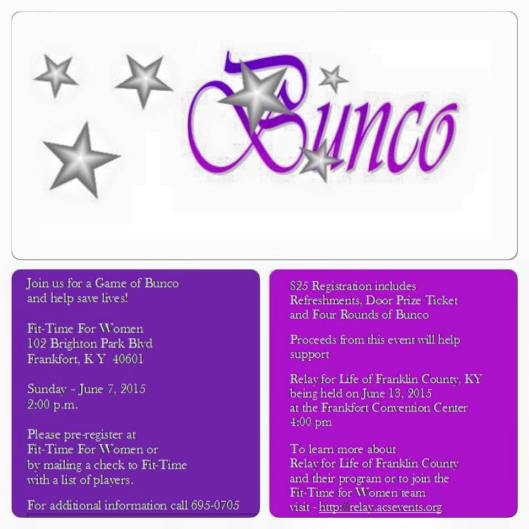 BUNCO for Relay for Life 2015 - 6-7-15