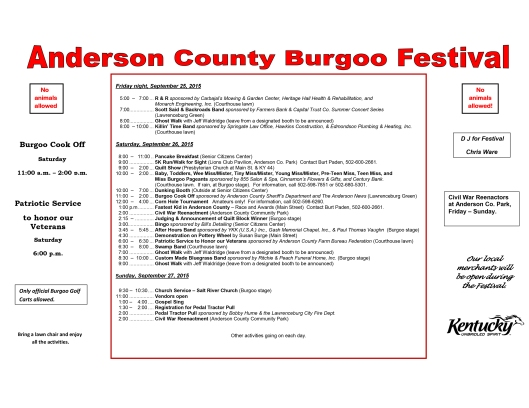 Anderson County Burgoo Festival Program 2015
