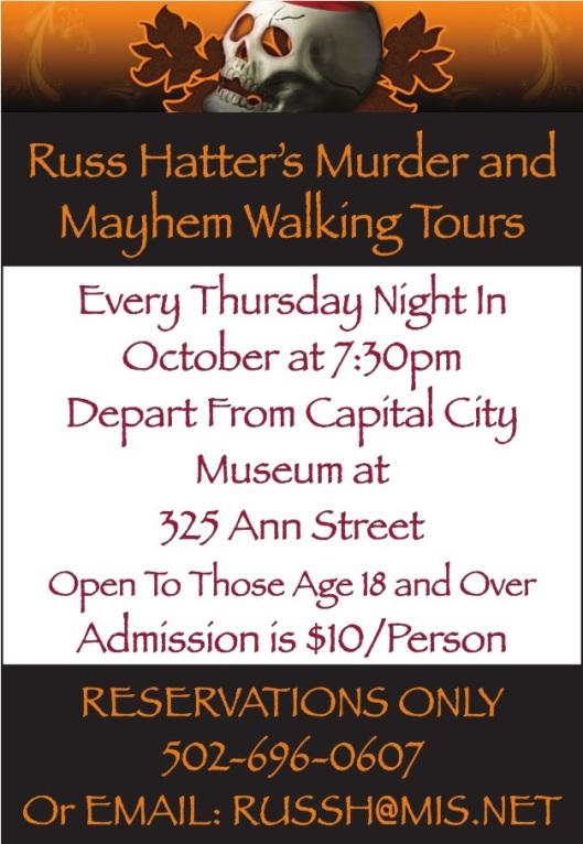 Russ Hatter's Murder & Mayhem Tour 2015 - Thursdays in October