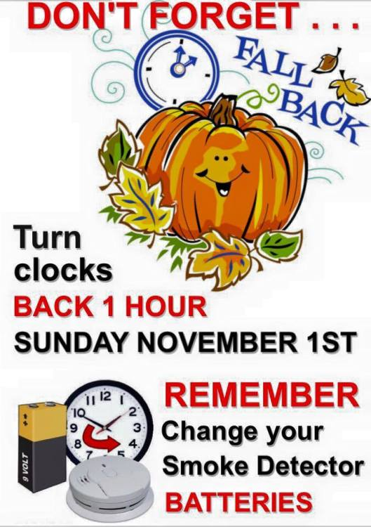 Fall Back from Daylight Savings Time - 11-1-15