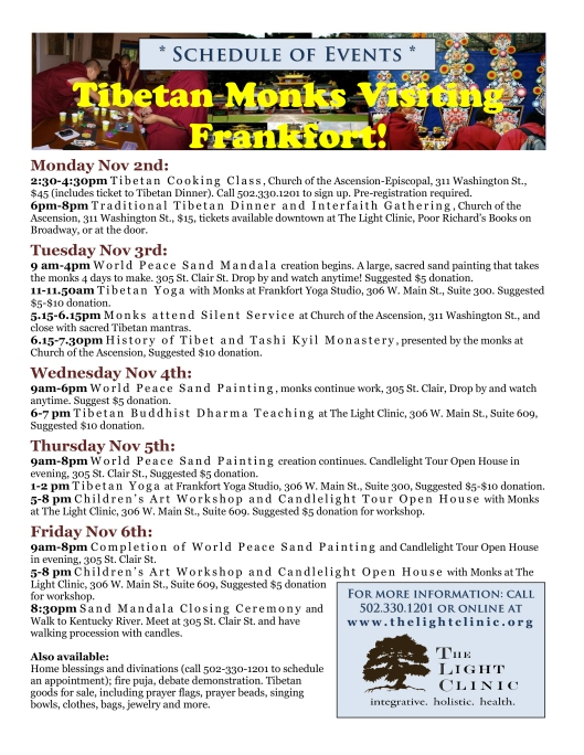 Tibetan Monks Visiting Frankfort - Nov 2-6