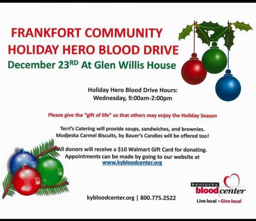 Christmas Blood Drive.Frankfort Holiday Hero Blood Drive To Be Held Wednesday