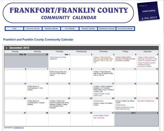 NEW Frankfort Franklin County Community Calendar