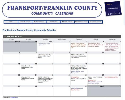 NEW Frankfort Franklin County Community Calendar
