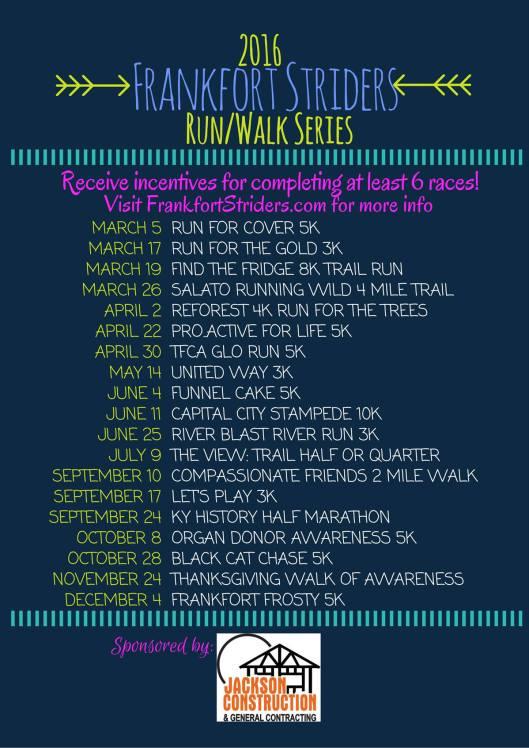 Frankfort Striders Run-Walk Series 2016