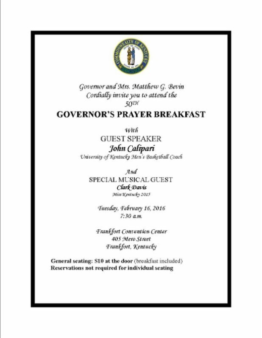 Governor's Prayer Service - 2-16-16