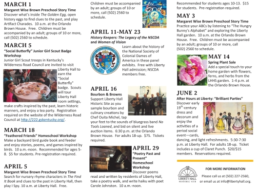 Liberty Hall 2016 Spring Calendar of Events-1