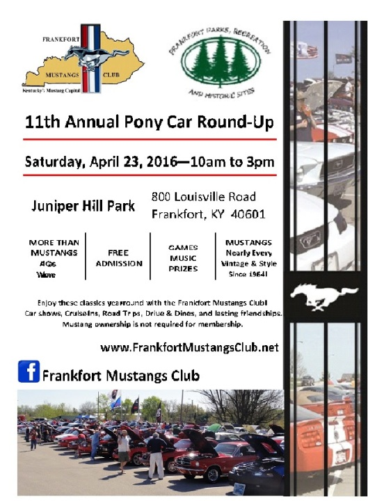 11th Annual Pony Car Round-Up at Juniper Hill Park - 4-23-16