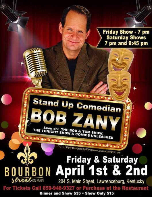 Bob Zany from the Bob & Tom Show at Bourbon Street on Main - Apr1-2-16