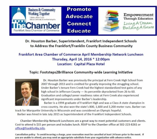 Chamber Luncheon Footsteps2Brilliance at the Capital Plaza Hotel - 4-14-16
