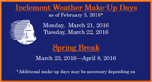 FIS Make-Up Weather days 2016