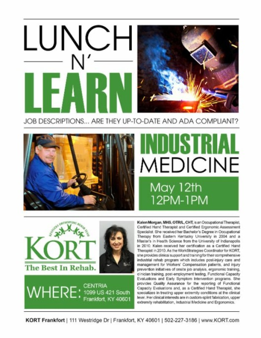 Frankfort Area Chamber of Commerce May Lunch and Learn with Kort Therapy - 5-12-16