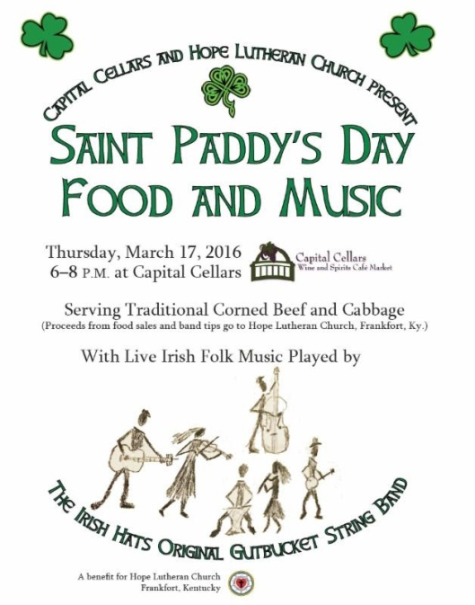 St Pattys Day Food & Music at Capital Cellars - 3-17-16