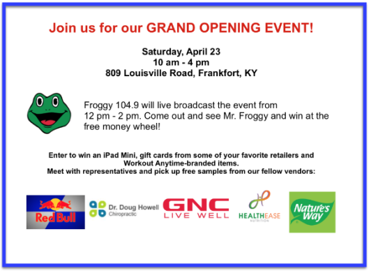 Grand Opening Event for Workout Anytime - 4-23-16