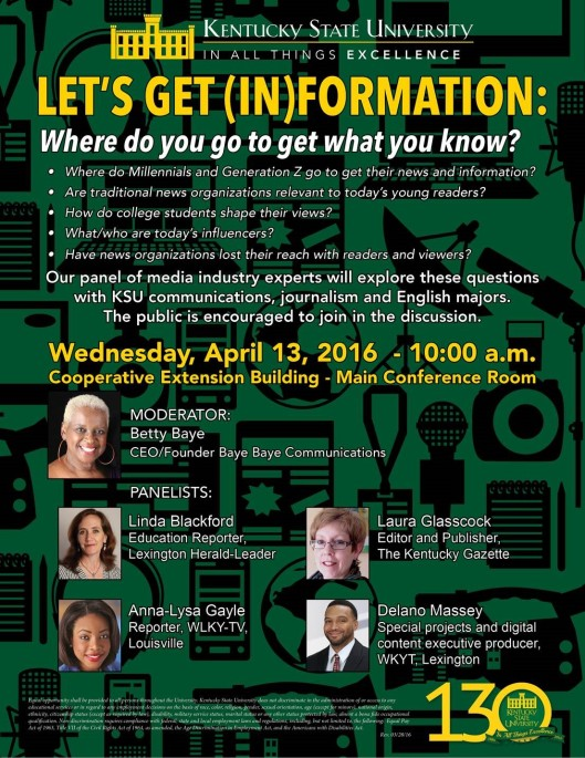 KSU hosts Let's Get In-formation - Where do you go to get what you know - 4-13-16
