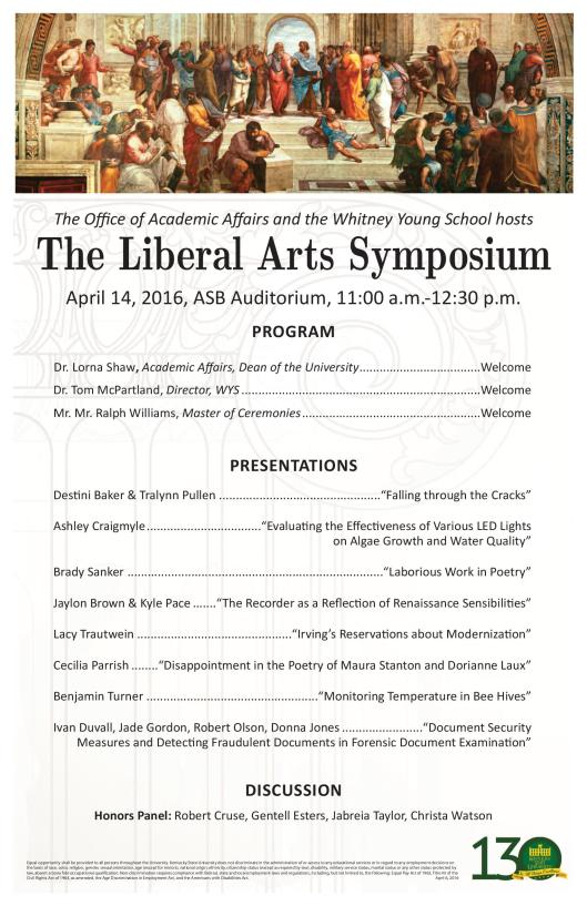 Spring Liberal Arts Student Symposium at KSU - 4-14-16