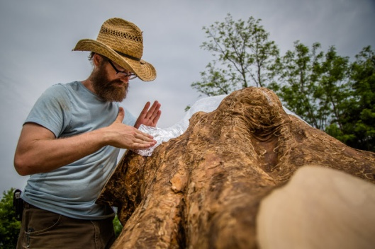 Aaron Dysart was in residence May 22-29 to create his new sculpture Later, to be featured in King Lear at JSP!