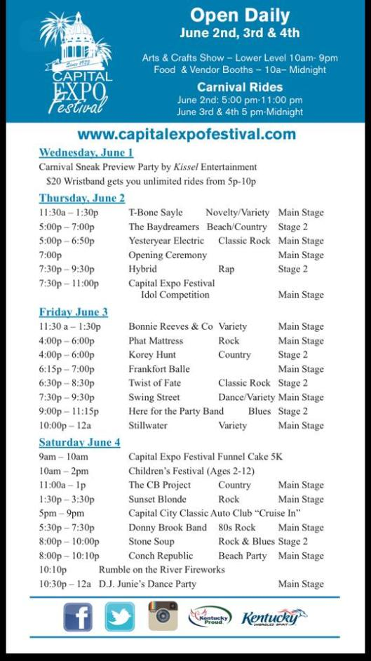Capital Expo Festival Schedule - June2-4