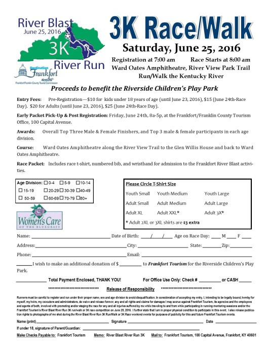 River Blast River Run 3k Registration 2016