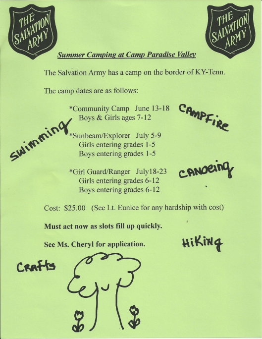 Salvation Army Summer Camp Flyer 2016