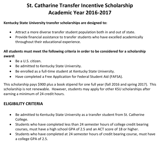 St  Catherine Transfer Scholarship