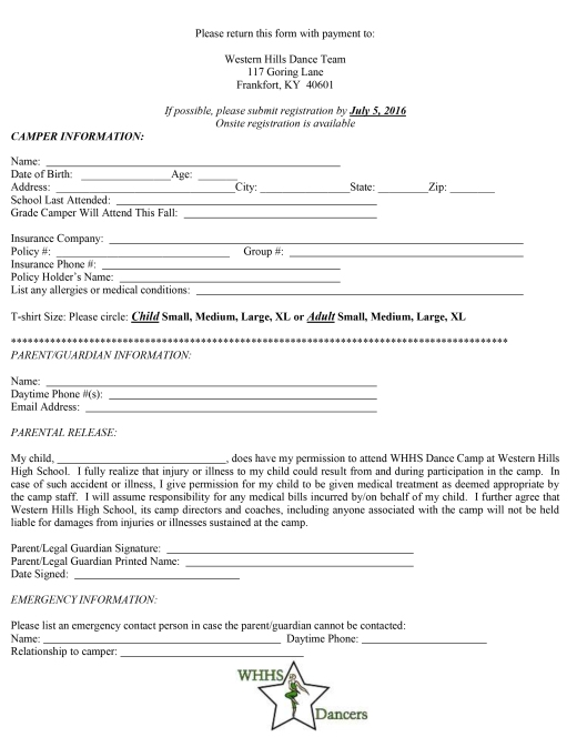 WHHS 2016-Kids Camp Flyer & Application-2