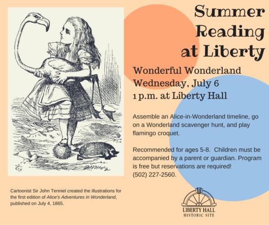 Wonderful Fun Summer Reading July 6 at Liberty Hall - 7-6-16