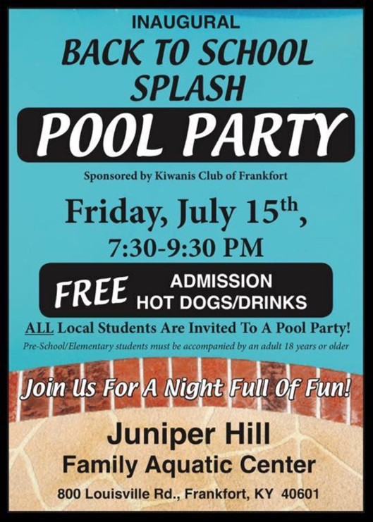Back to School Splash Pool Party at Juniper Hill Aquatic Center - 7-15-16