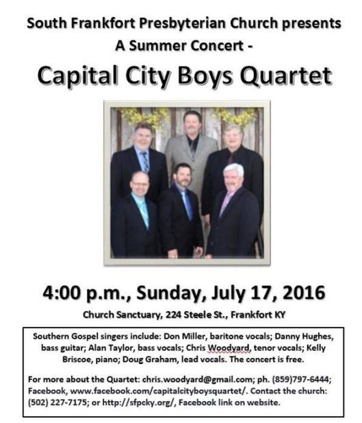 Capital City Boys Quartet at South Frankfort Presbyterian Church - 7-17-16