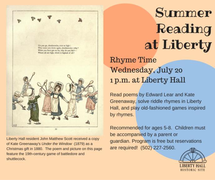 Wonderful Fun Summer Reading July 20 at Liberty Hall - 7-20-16