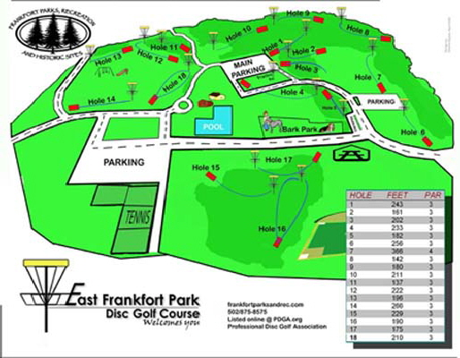 East Frankfort Park Disc Golf Map