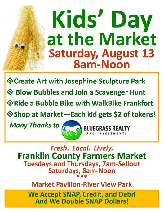 Kids Day at the Market at the Franklin COunty Farmers Market - 8-13-16
