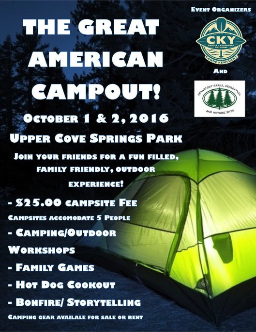 The Great American Campout at Upper Cove Springs - Oct1-2