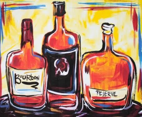 bourbon-bottles-paint-on-canvas-10-12-16