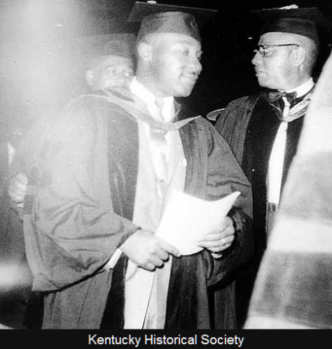 The Reverend Dr. Martin Luther King Jr., left, with Kentucky State College President Rufus Atwood at the June 1957 commencement.